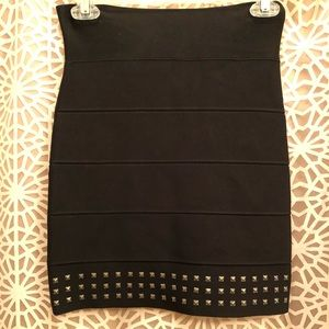 BCBG Black Sexy Chic Studded Bandage Mini Skirt